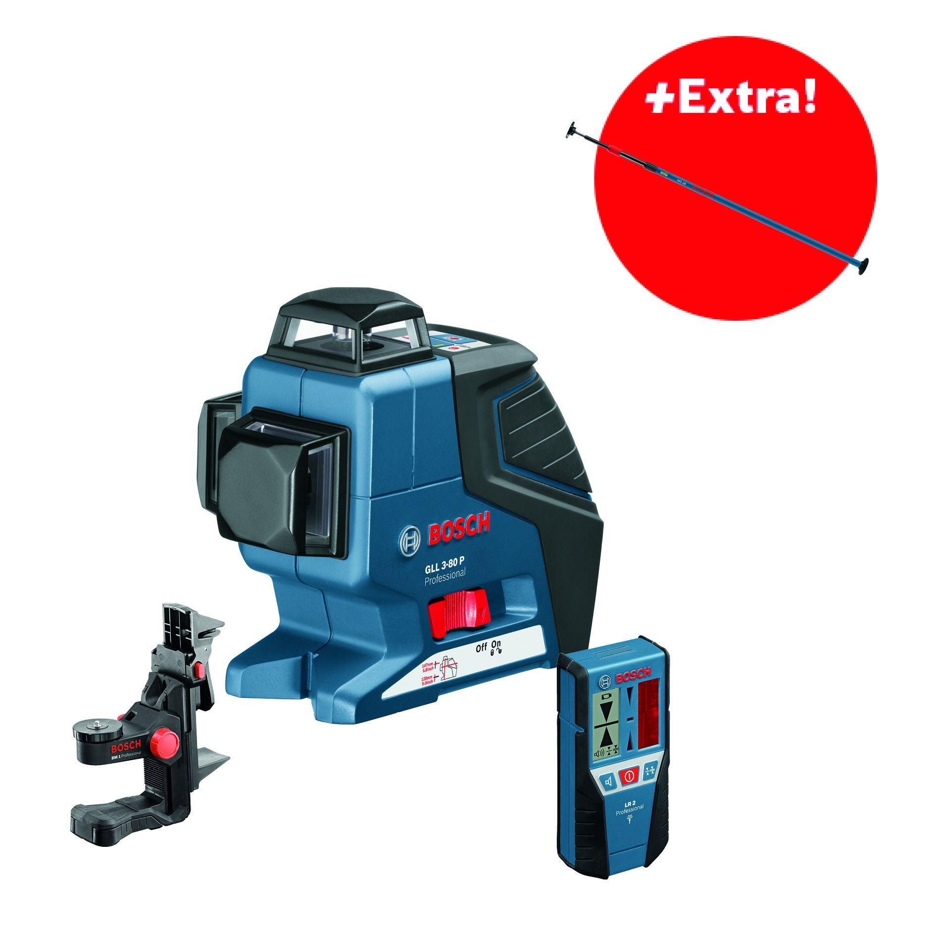 Křížový laser Bosch GLL 3-80P Professional + držák BM 1, přijímač LR 2, L-Boxx 136, stativ