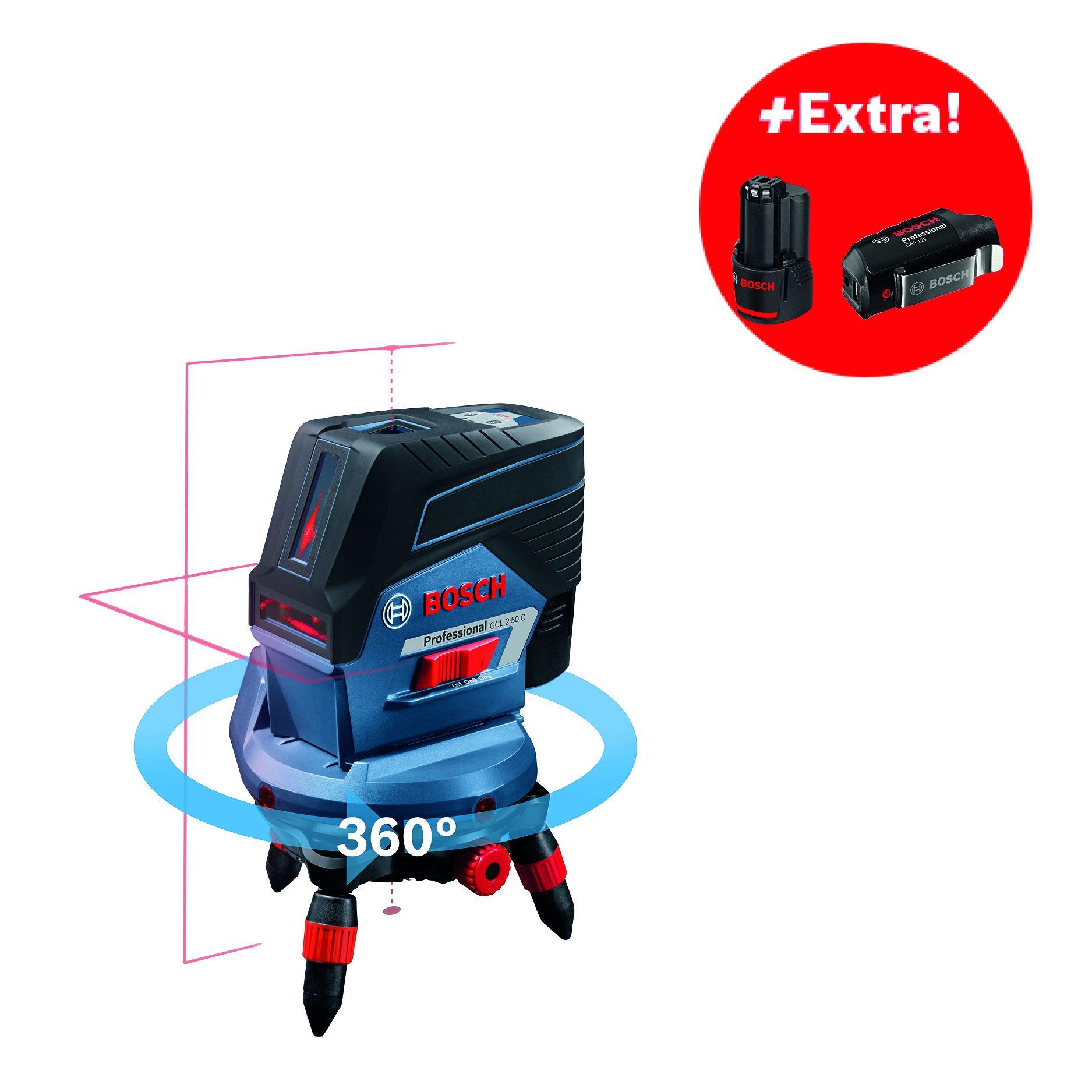 Křížový laser Bosch GCL 2-50 C Professional + 2x aku 2,0Ah + L-Boxx 238 + dálkové ovládání