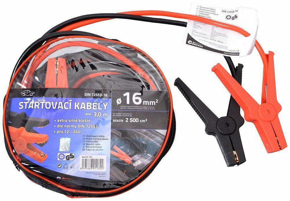 Startovací kabely 16 délka 3m TÜV/GS DIN72553, COMPASS