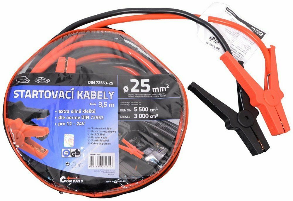 Startovací kabely 25 délka 3,5m TÜV/GS DIN72553 COMPASS