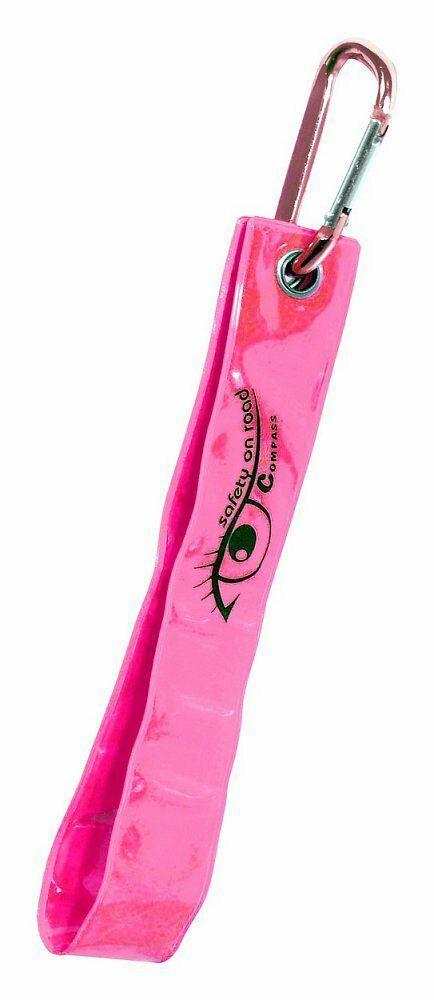 Přívěšek s karabinou reflexní S.O.R. růžový, COMPASS