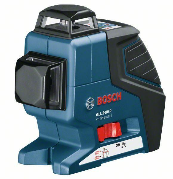 Čárový laser Bosch GLL 2-80 P + L-BOXX, un. držák, laser příjímač Professional, 0601063209