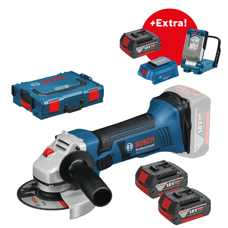 Aku úhlová bruska 3x5,0Ah + L-Boxx Bosch GWS 18-125 V-LI Professional, 060193A30l