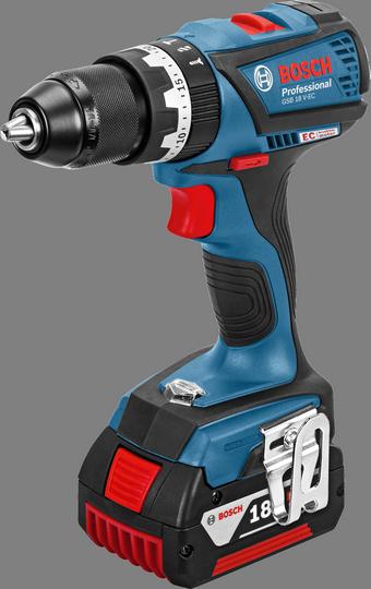 Aku vrtací šroubovák s příklepem Bosch GSB 18 V-EC Professional (2x2,0 Ah), 06019E9105