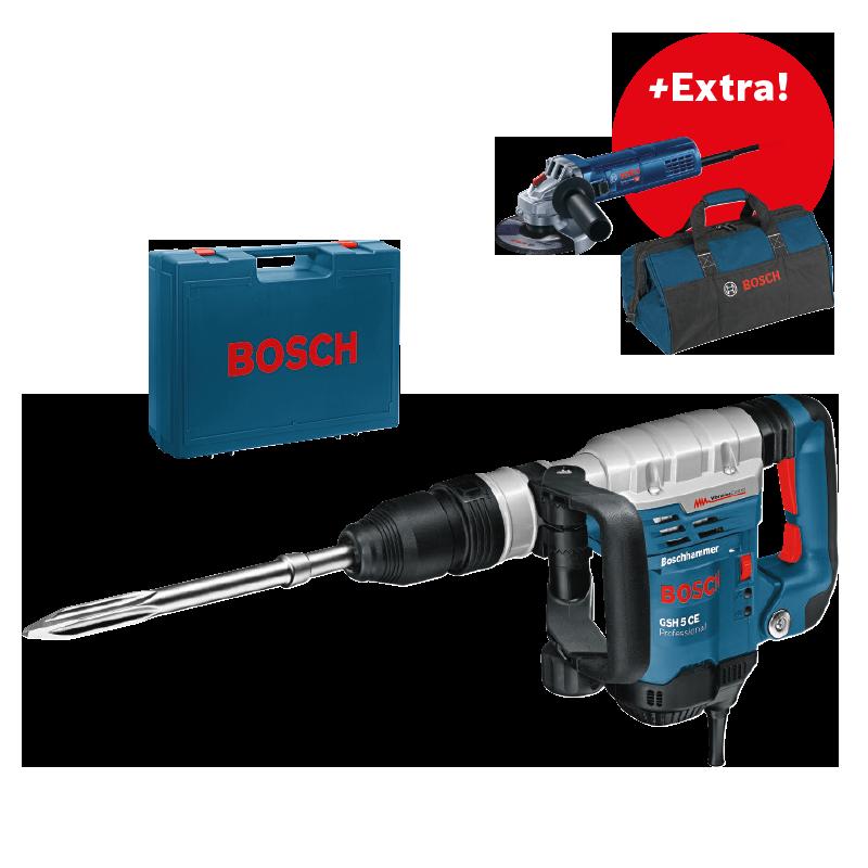 Sekací kladivo SDS-Max Bosch GSH 5 CE Professional + úhlová bruska GWS 9-125 + pracovní ta