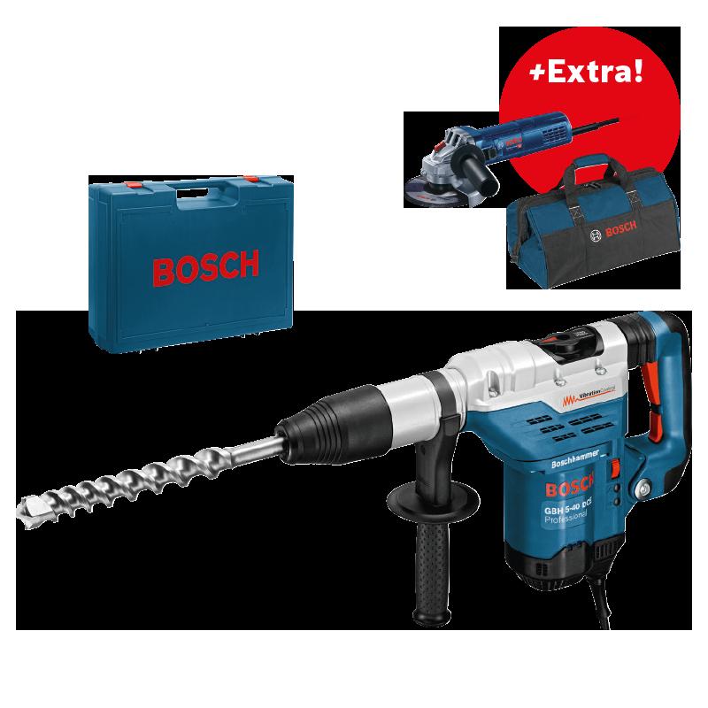 Kombinované kladivo SDS-Max Bosch GBH 5-40 DCE Professional+úhlová bruska GWS 9-125+taška