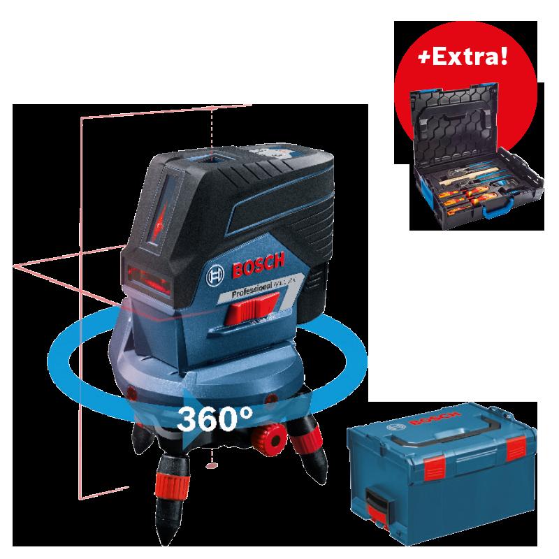 Křížový laser Bosch GCL 2-50 C Professional + aku 2,0Ah + L-Boxx 238 + dálkové ovládání