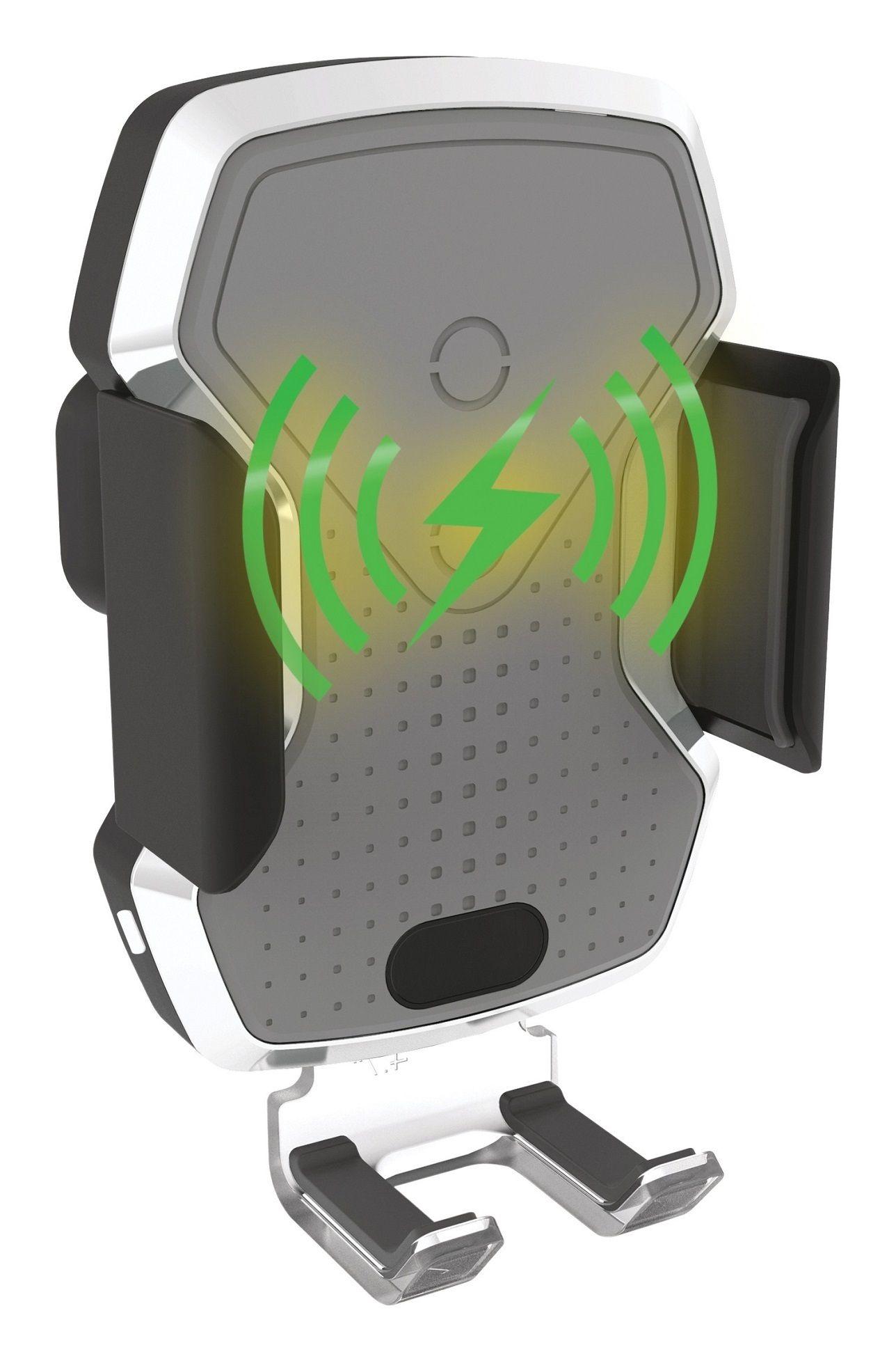 Držák telefonu LUKE-X bezdrátové nabíjení 10W silver COMPASS