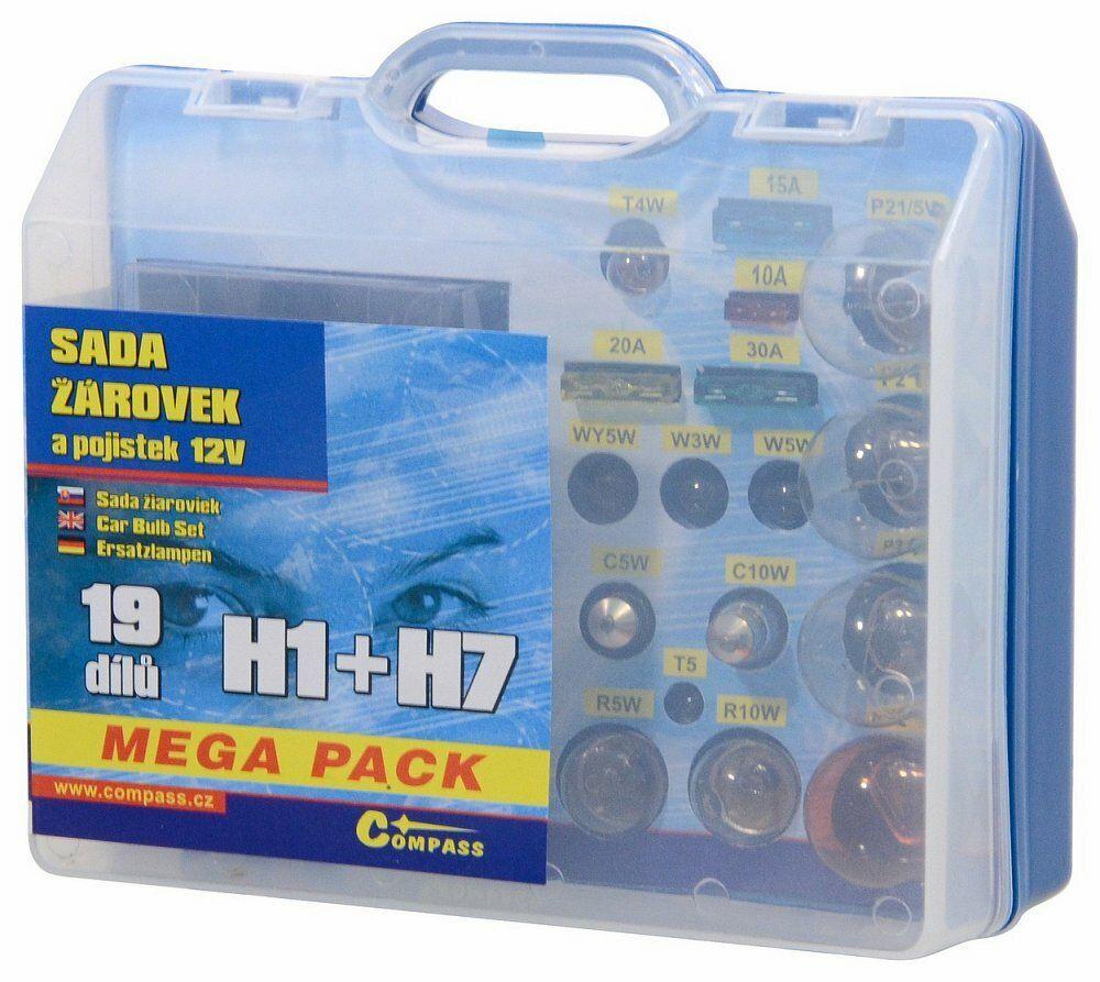 Žárovky 12V servisní box MEGA H1+H7+pojistky, COMPASS