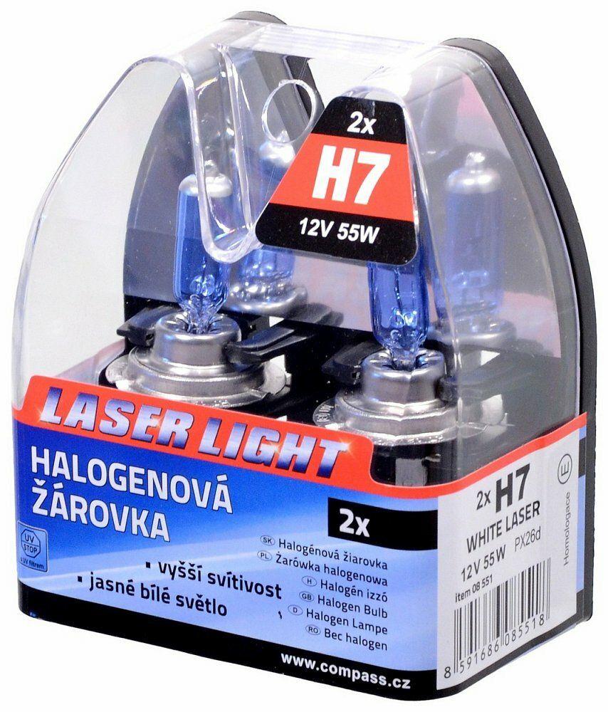 Žárovka 12V H7 55W PX26d WHITE LASER 2ks COMPASS