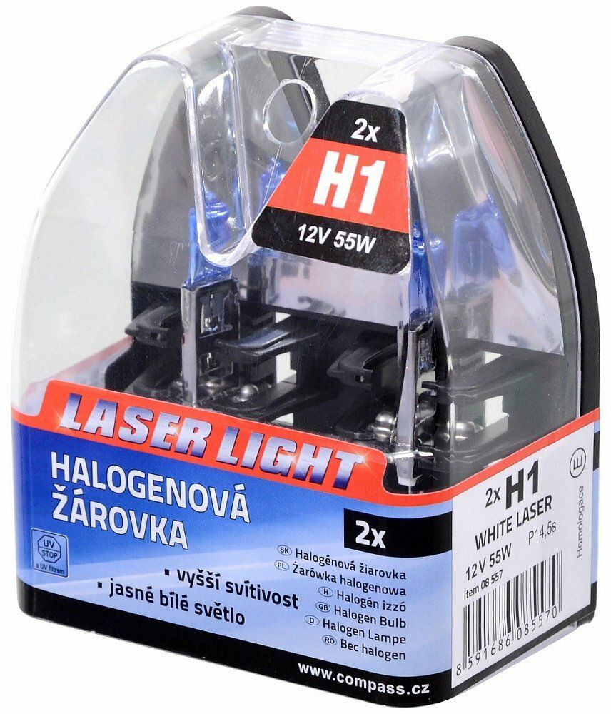 Žárovka 12V H1 55W P14,5s WHITE LASER 2ks, COMPASS