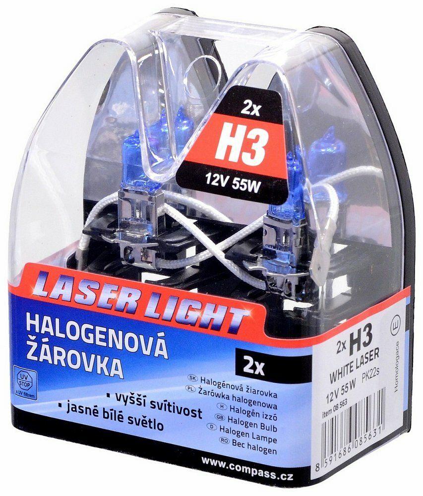 Žárovka 12V H3 55W Pk22s WHITE LASER 2ks, COMPASS