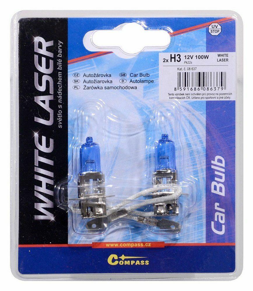 Žárovka 12V H3 100W Pk22s WHITE LASER blister 2ks, COMPASS