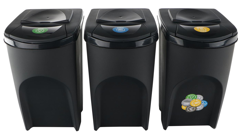 Sada 3 odpadkových košů SORTIBOX ANTRACIT 392x293x620 / 35L s černým víkem a nálepkami PROSPERPLAST