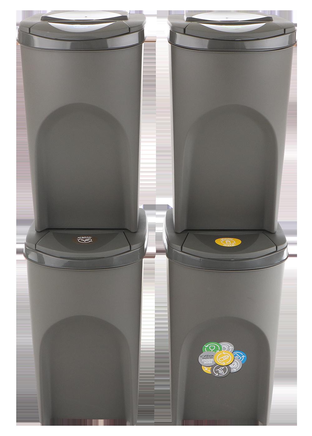 Sada 4 odpadkových košů SORTIBOX Šedý kámen 392x293x680 s šedým víkem a nálepkami PROSPERPLAST