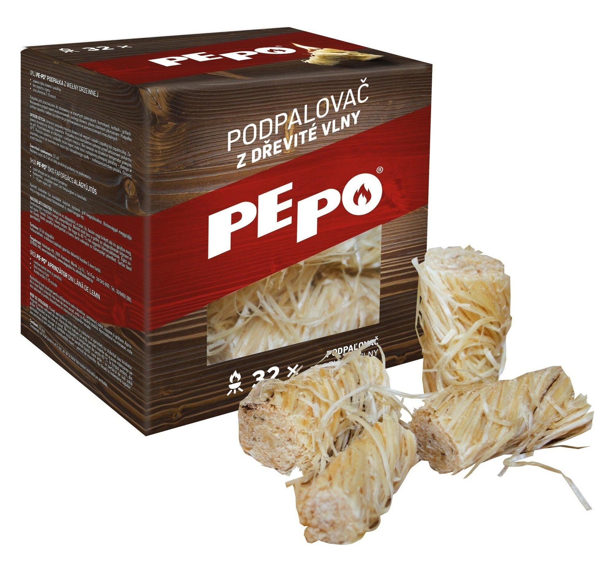 PE-PO podpalovač z dřevité vlny 32 ks PEPO