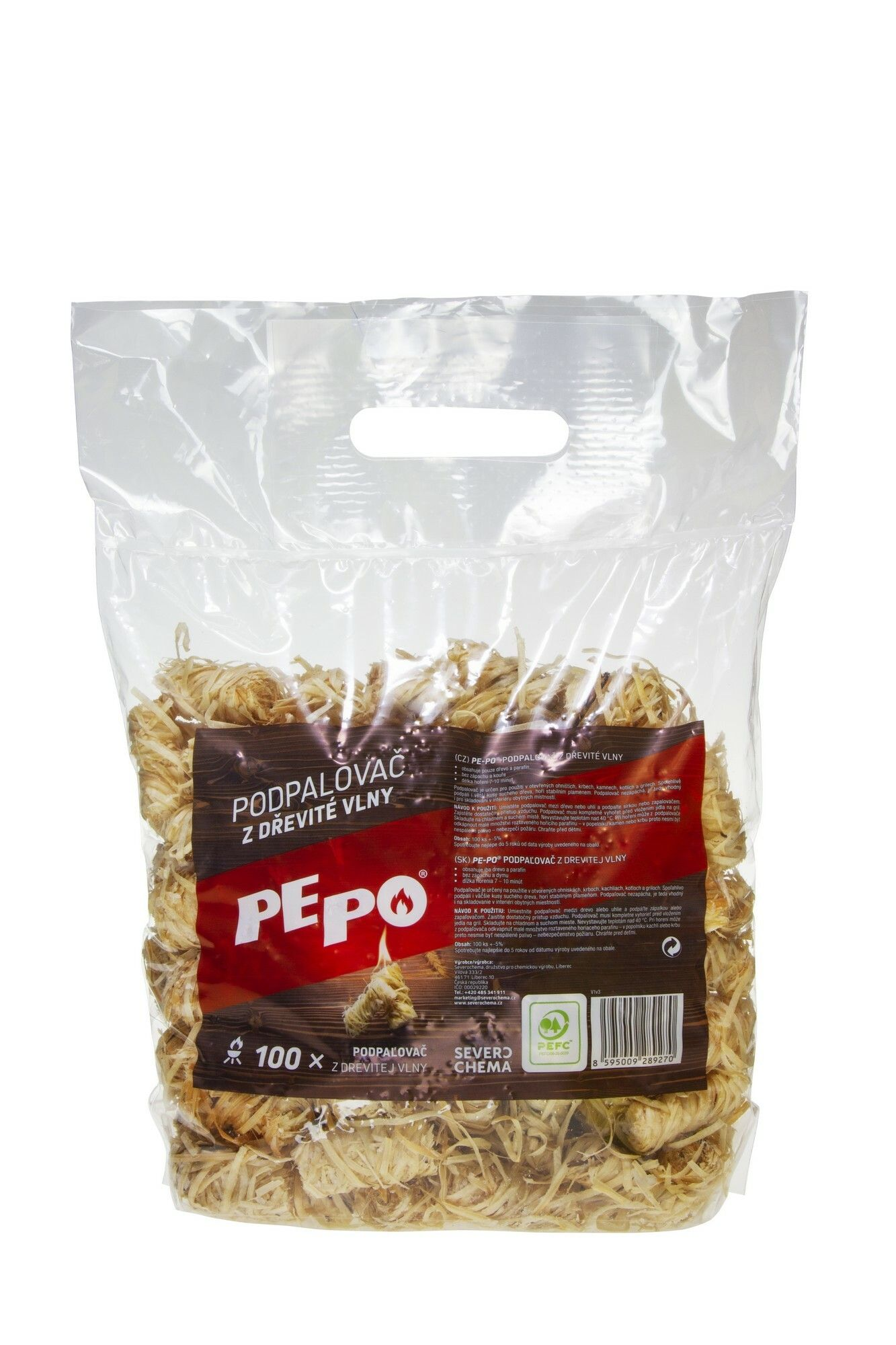 PE-PO podpalovač z dřevité vlny 100 ks PEPO