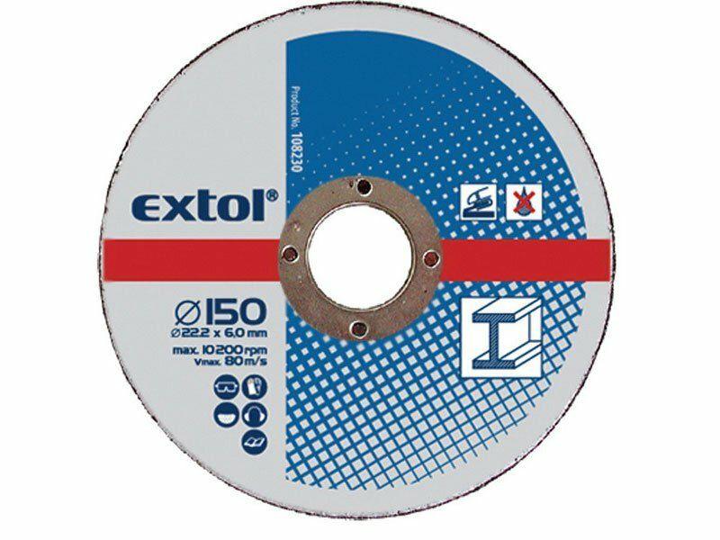 Kotouče brusné na kov, 5ks, 230x6,0x22,2mm, EXTOL CRAFT