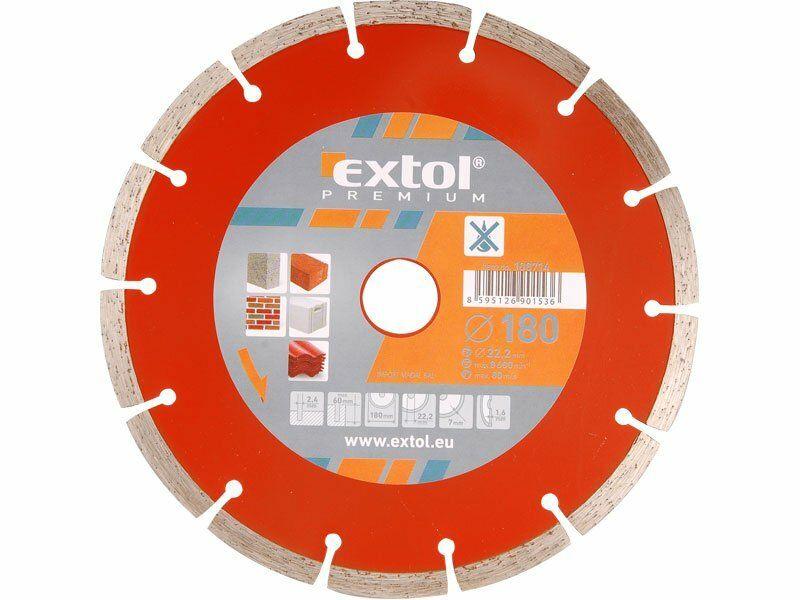 Kotouč diamantový řezný segmentový, 180x22,2mm, suché řezání EXTOL-PREMIUM