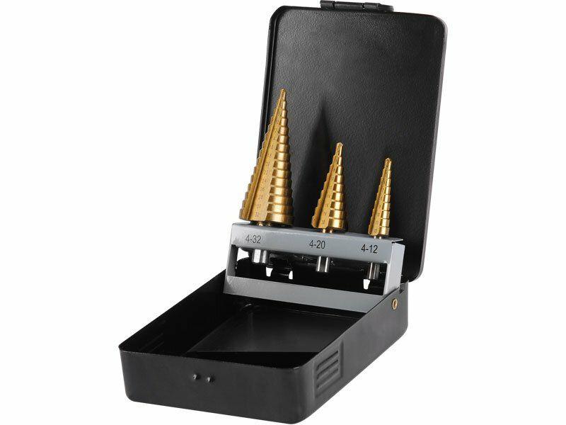 Vrtáky stupňovité, sada 3ks, Ř4-12/1mm, Ř4-20/2mm, Ř4-32/2mm, EXTOL CRAFT