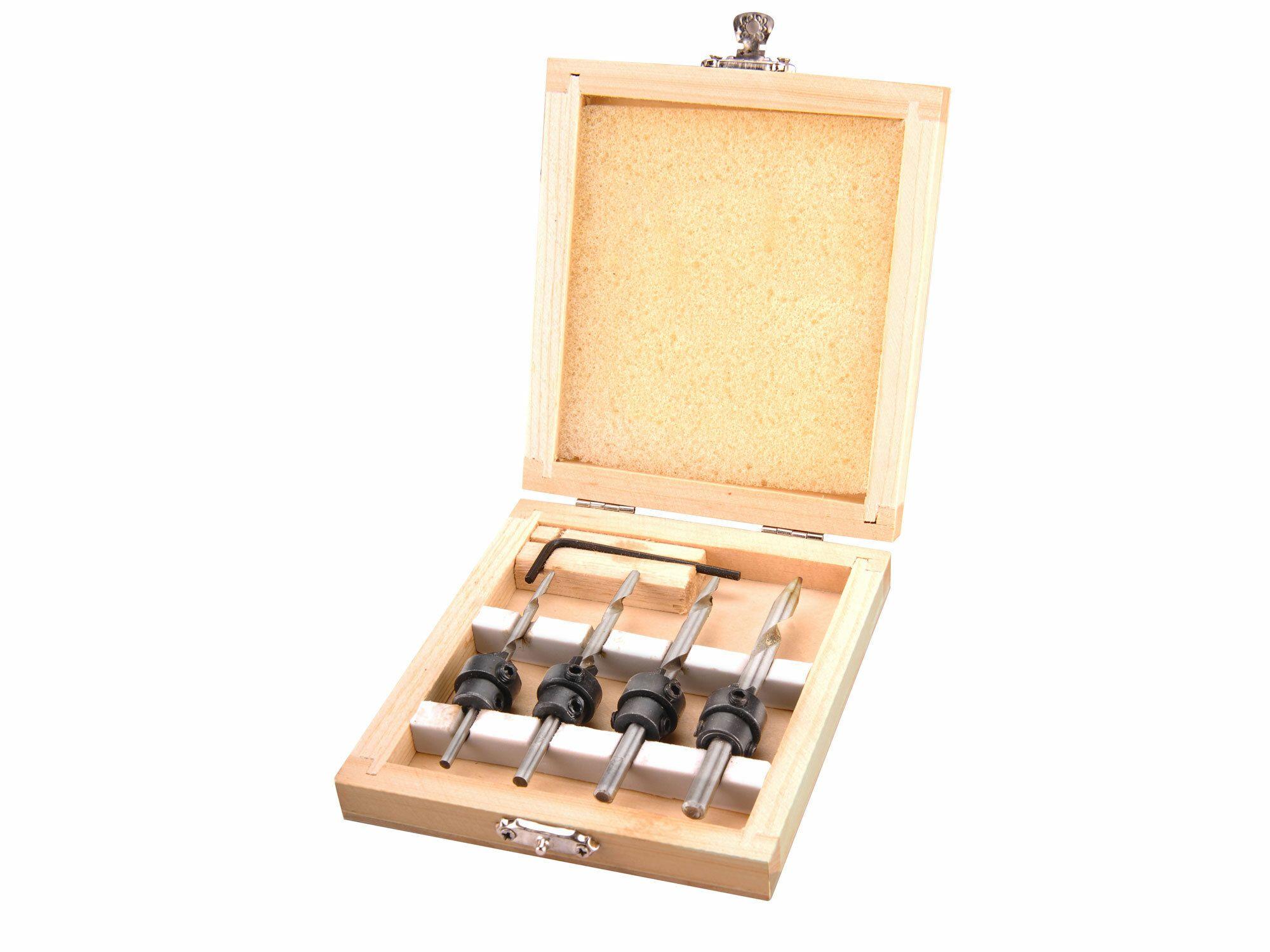 Vrtáky s dorazem a zahlubovacím kroužkem, sada 4ks, do dřeva, v dřevěné kazetě EXTOL-CRAFT