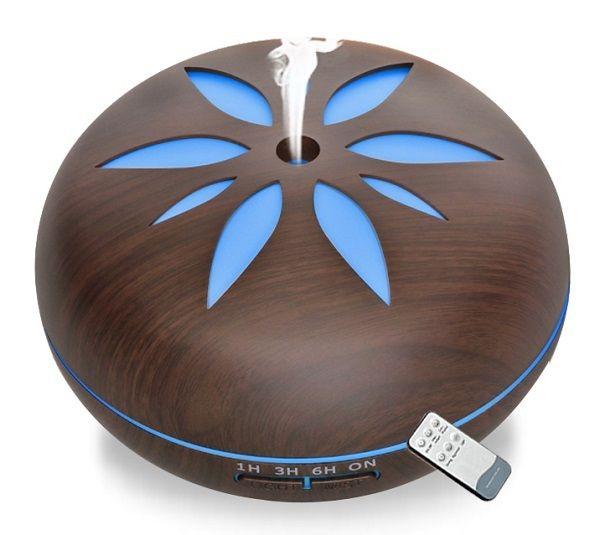 Aroma difuzér Y02 550ml tmavé dřevo - ultrazvukový, 7 barev LED, dálkové ovládání HUTERMANN