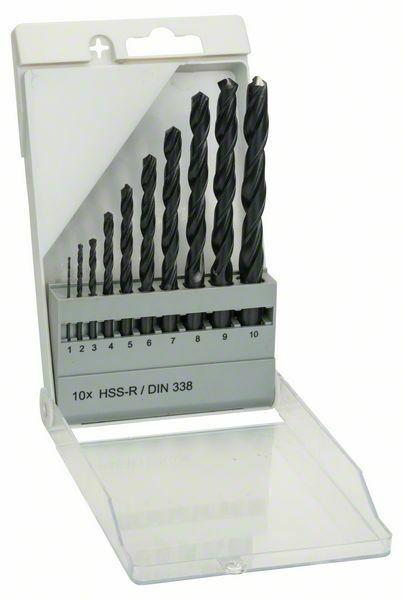 Sada vrtáků do kovu HSS-R, 10dílná, DIN 338 - 1; 2; 3; 4; 5; 6; 7; 8; 9; 10 mm - 316514000 BOSCH