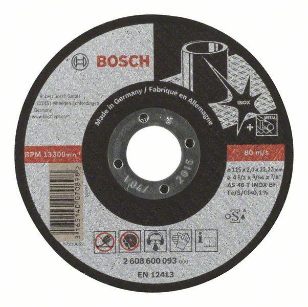 Dělicí kotouč rovný Expert for Inox - AS 46 T INOX BF, 115 mm, 2,0 mm - 3165140070898 BOSCH