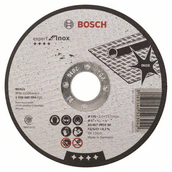 Dělicí kotouč rovný Expert for Inox - AS 46 T INOX BF, 125 mm, 2,0 mm BOSCH