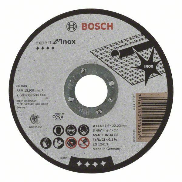 Dělicí kotouč rovný Expert for Inox - AS 46 T INOX BF, 115 mm, 1,6 mm - 3165140116367 BOSCH
