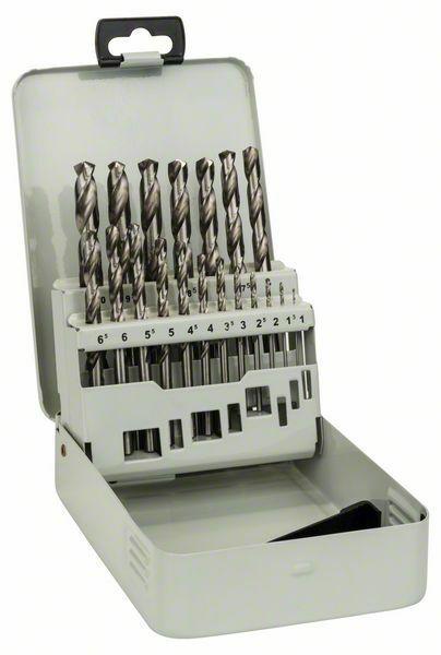 Kovová kazeta s 19dílnou sadou vrtáků do kovu HSS-G, DIN 338, 135° - 1-10 mm, 135° - 31651 BOSCH