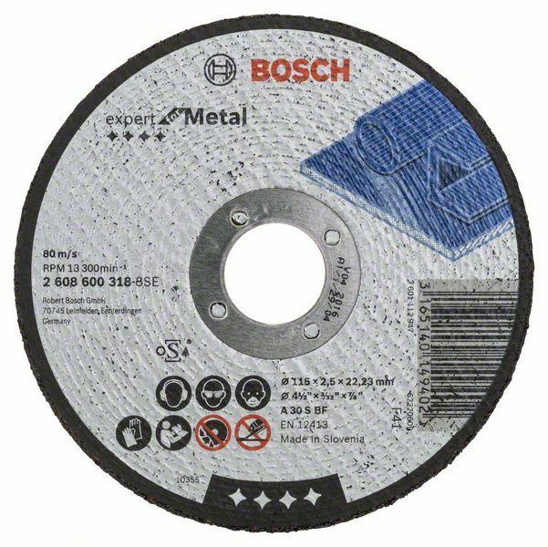 Dělicí kotouč rovný Expert for Metal - A 30 S BF, 115 mm, 2,5 mm BOSCH