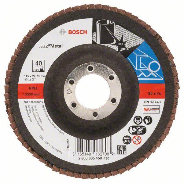 Lamelový brusný kotouč X571, Best for Metal; 115 mm, 22,23 mm, 40 - 3165140162708 BOSCH