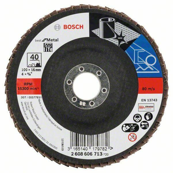 Lamelový brusný kotouč X571, Best for Metal; 100 mm, 16 mm, 40 (Balení 10 ks) BOSCH