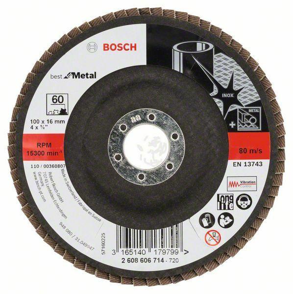 Lamelový brusný kotouč X571, Best for Metal; 100 mm, 16 mm, 60 (Balení 10 ks) BOSCH