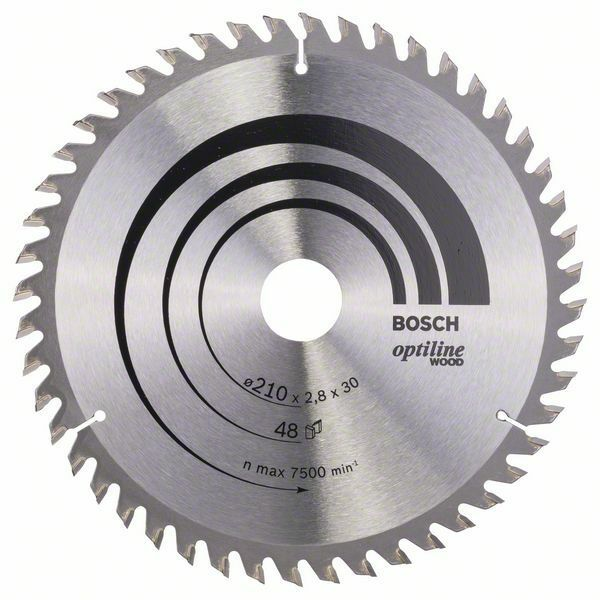 Pilový kotouč Optiline Wood - 210 x 30 x 2,8 mm, 48 - 3165140194174 BOSCH