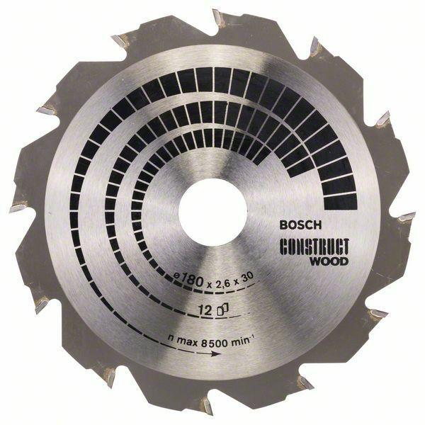 Pilový kotouč Construct Wood - 180 x 30/20 x 2,6 mm, 12 - 3165140194259 BOSCH