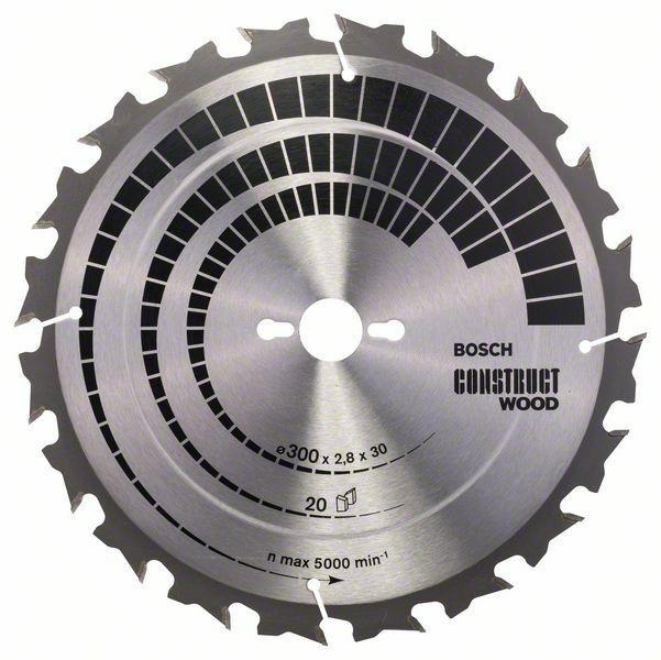 Pilový kotouč Construct Wood - 300 x 30 x 2,8 mm, 20 - 3165140194792 BOSCH