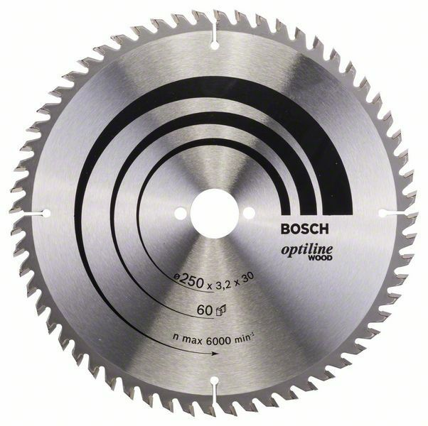 Pilový kotouč Optiline Wood - 250 x 30 x 3,2 mm, 60 - 3165140195034 BOSCH