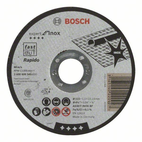 Dělicí kotouč rovný Expert for Inox - Rapido - AS 60 T INOX BF, 115 mm, 1,0 mm - 316514022 BOSCH