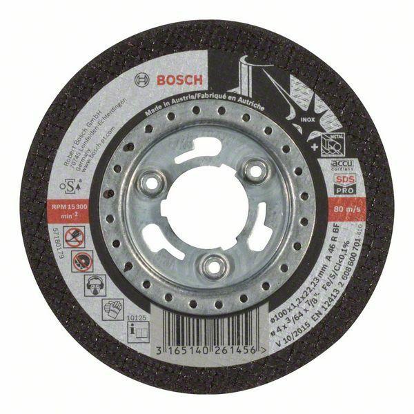 Dělicí kotouč rovný Inox - SDS-pro - A 46 R BF, 100 mm, 1,2 mm - 3165140261456 BOSCH