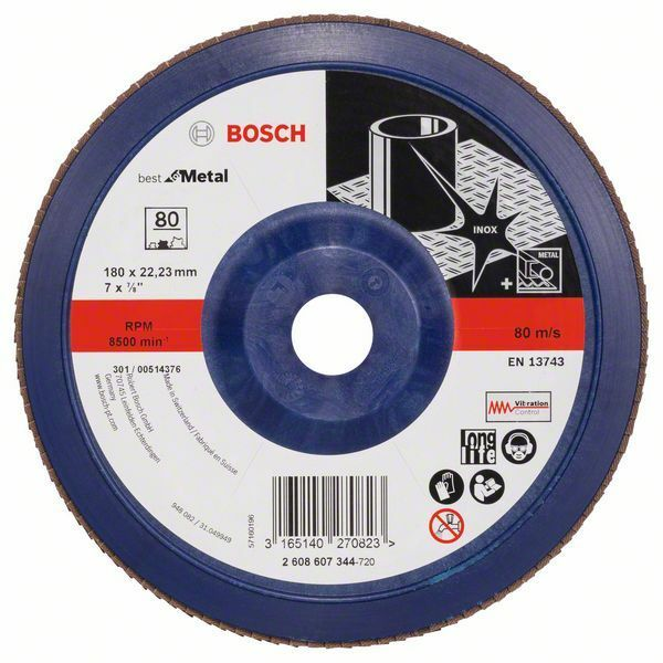 Lamelový brusný kotouč X571, Best for Metal; 180 mm, 22,23 mm, 80 - 3165140270823 BOSCH