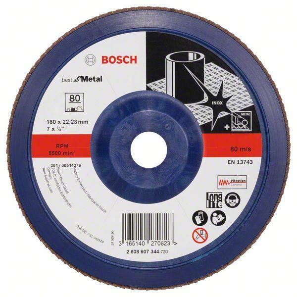 Lamelový brusný kotouč X571, Best for Metal; 180 mm, 22,23 mm, P80 BOSCH