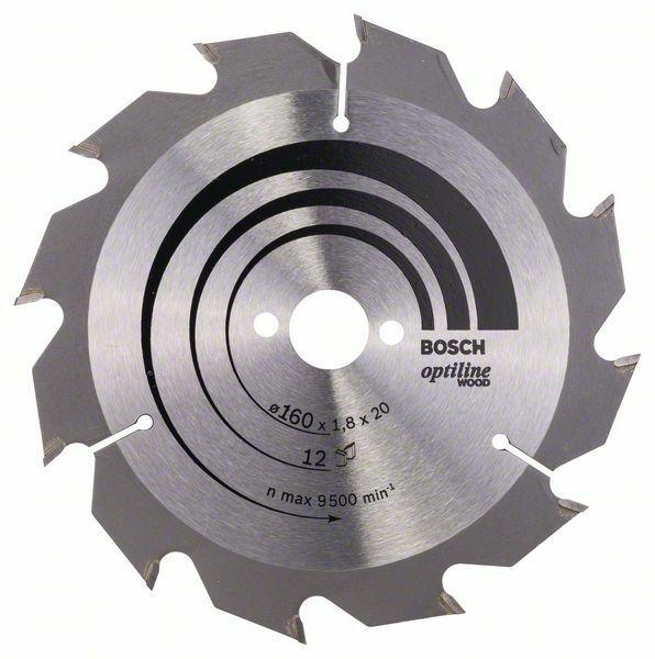 Pilový kotouč Optiline Wood - 160 x 20/16 x 1,8 mm, 12 - 3165140373524 BOSCH