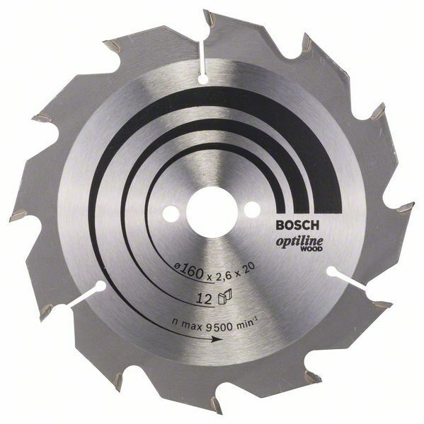 Pilový kotouč Optiline Wood - 160 x 20/16 x 2,6 mm, 12 - 3165140373555 BOSCH