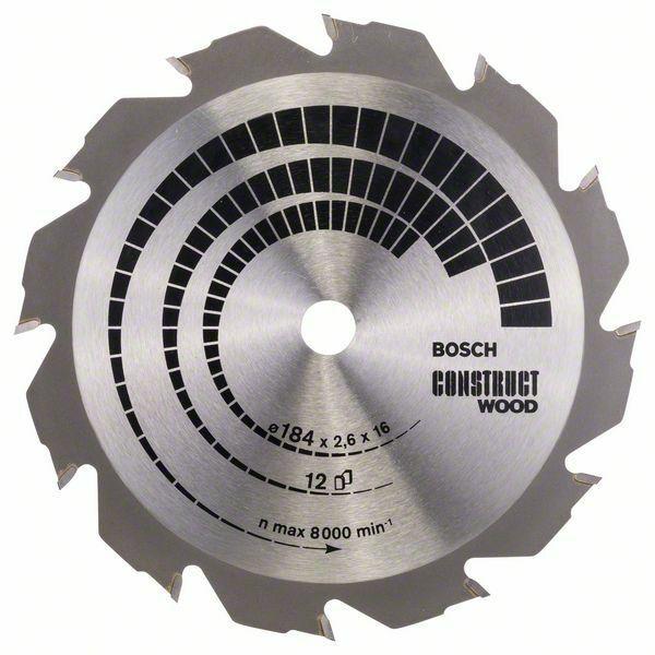 Pilový kotouč Construct Wood - 184 x 16 x 2,6 mm, 12 - 3165140373821 BOSCH