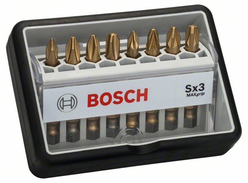 8dílná sada šroubovacích bitů, Robust Line, Sx Max Grip 49 mm, 8dílná sada - 3165140401555 BOSCH