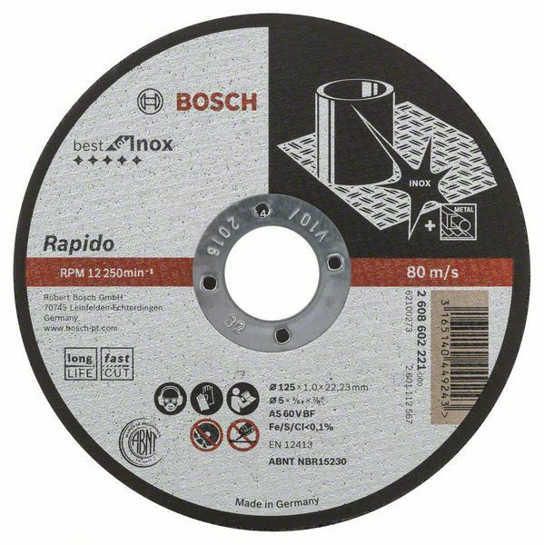 Dělicí kotouč rovný Best for Inox - Rapido Long Life - A 60 W BF 41, 125 mm, 22,23 mm, 1,0 BOSCH
