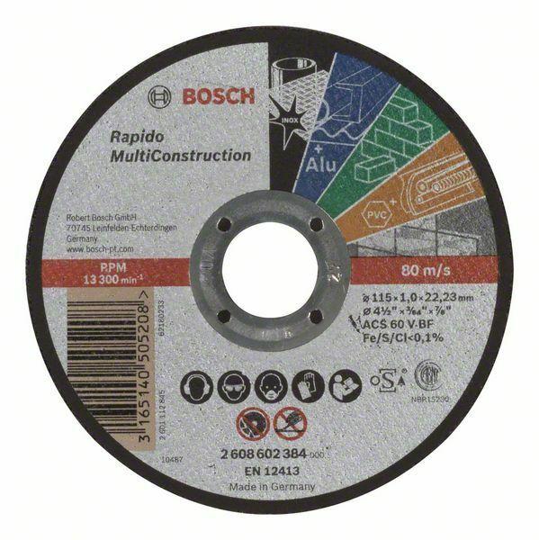 Dělicí kotouč rovný Rapido Multi Construction - ACS 60 V BF, 115 mm, 1,0 mm - 316514050520 BOSCH
