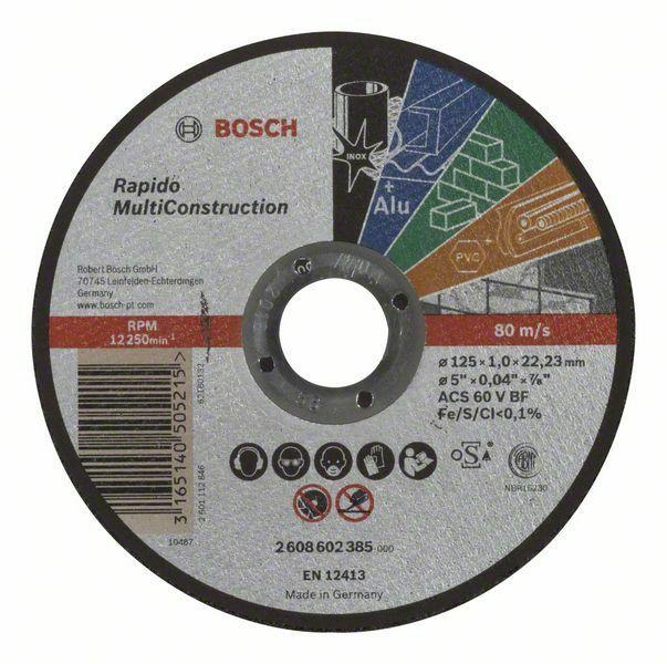Dělicí kotouč rovný Rapido Multi Construction - ACS 60 V BF, 125 mm, 1,0 mm - 316514050521 BOSCH